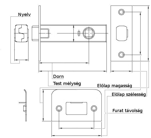 Reteszzár műszaki rajz