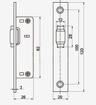 Anbo 1202, portál zár műszaki rajza